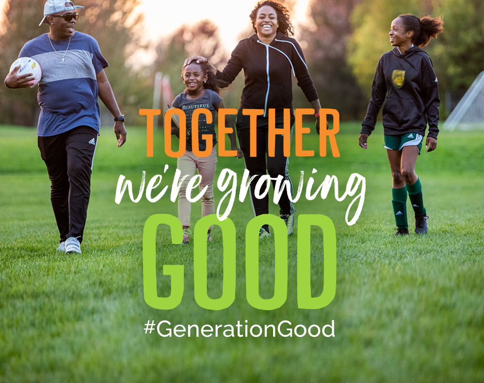 Family Playing Soccer at Dusk - Overlay Text: Together We're Growing Good #GenerationGood